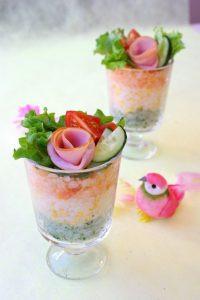 薔薇ハム洋風グラスで3色寿司