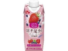 森永 ミルク&フルーツPLUS+ ストロベリーミックス 330ml