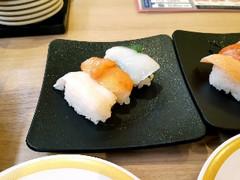 かっぱ寿司 貝三貫盛り つぶ貝・赤貝・ロコ貝
