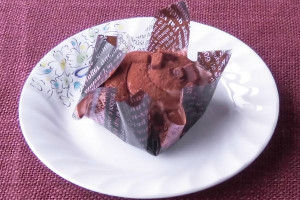 ココアスポンジの土台の上に、渦を巻いたドーム状に絞られたチョコクリーム。