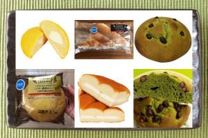 ファミリーマート「こだわりのメロンパン(バター風味ホイップ)」、ファミリーマート「ちぎれる三角サンド」、セブン-イレブン「宇治抹茶香る!甘食風しっとりケーキ」