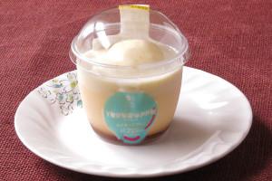 生クリームブレンドホイップとカスタードソースを、柔らかくなめらかなプリンに合わせたカップスイーツ。