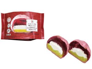 宮崎紅使用の濃厚焼き芋ペーストとクリーミーなホイップクリームを、紫色のもちもちシュー生地に詰めたシュークリーム。